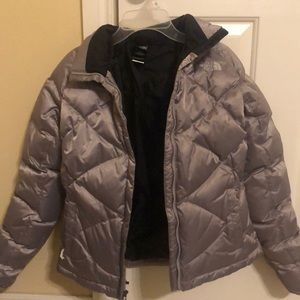 Women's Silver North Face Coat